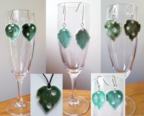 ceramic leaf earrings